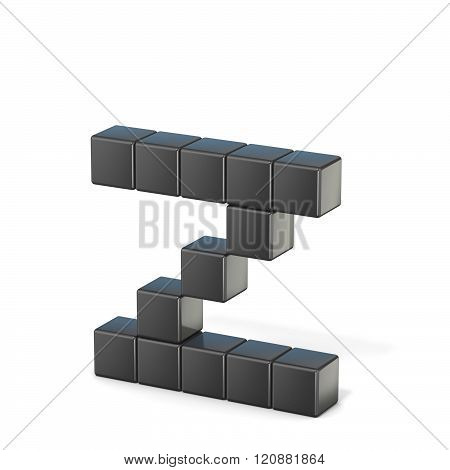 8 bit font. Lowercase letter Z. 3D render illustration isolated on white background