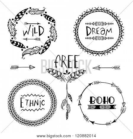 Set of four creative Boho style Frames mady by Ethnic Feathers, Arrows and Floral Elements with space for your text on grey background.