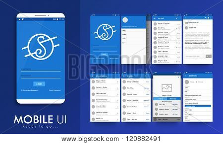Material design UI, UX screens, flat web icons for mobile apps, responsive websites. login, email profile setting, inbox, email preview, conversation, friends, message preview, edit profile screens.
