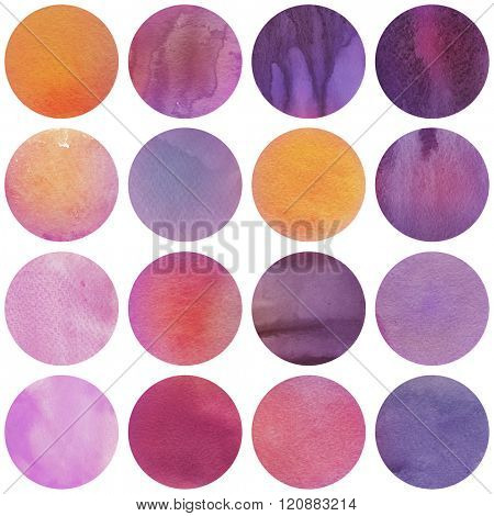 Watercolor circles collection  in purple, orange and lilac colors. Watercolor stains set isolated on white background. Bright tints palette. Seamless retro geometric pattern.