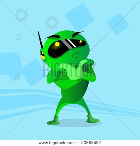 Modern Green Robot Holding Hand Chin Pondering