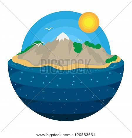 Vector island illustration with layered ocean, sky and sun