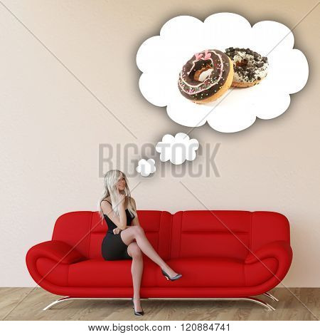 Woman Craving Donuts and Thinking About Eating Food