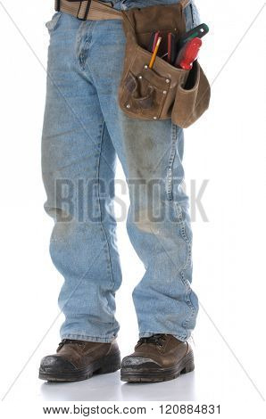 man wearing toolbelt isolated on white background
