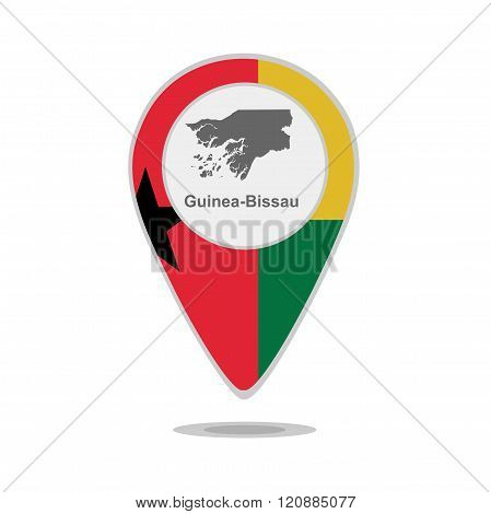 A pointer with map and flag of Guinea-Bissau