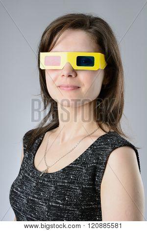 Woman Black Dress In 3D Glasses