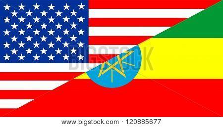 Usa Ethiopia Half Flag