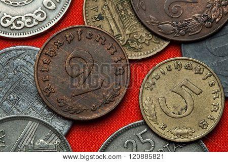 Coins of Nazi Germany. German Reichspfennig coins (1938).