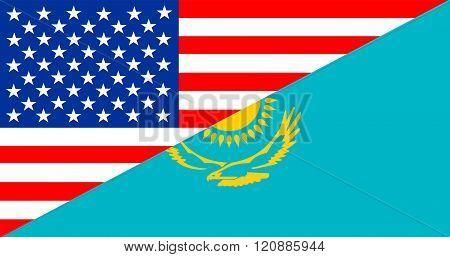 Usa Kazakhstan Half Flag