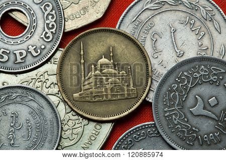 Coins of Egypt. Mosque of Muhammad Ali (Alabaster Mosque) in Cairo depicted in the Egyptian 10 piastre (qirsh) coin from 1992.