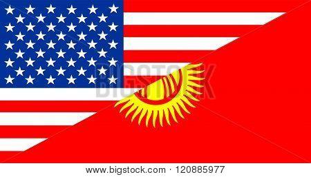 Usa Kyrgyzstan Half Flag