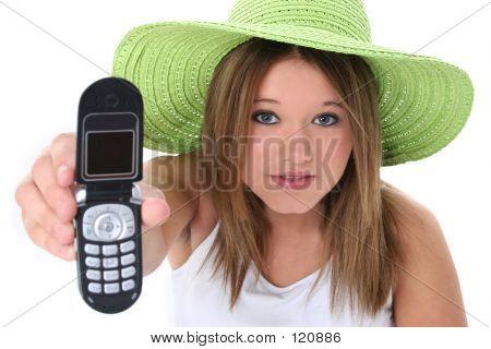 Beautiful Teen Girl Handing Cellphone To Camera