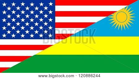 Usa Rwanda Half Flag