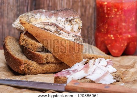 Ukrainian Lard With Black Bread And Spicy Sauce Of Tomatoes And Horseradish