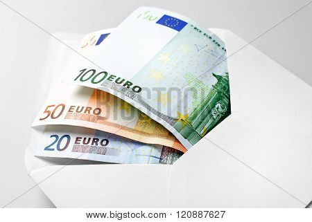 Euro bills in envelope