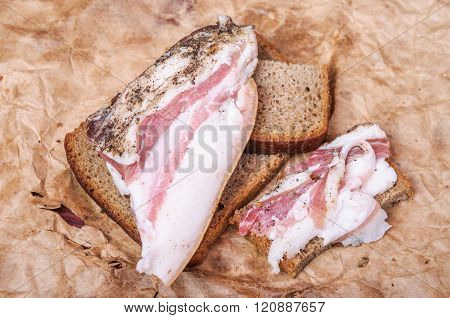 Ukrainian Lard With Black Bread