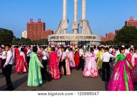 mass dances in honor of victory day, Pyongyang, North Korea