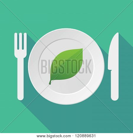 Long Shadow Tableware Illustration With A Green  Leaf