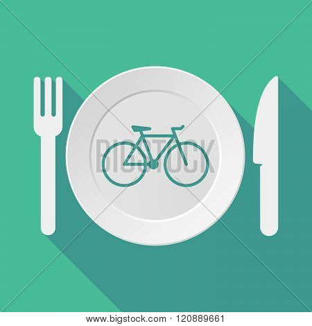 Long Shadow Tableware Illustration With A Bicycle