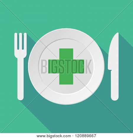 Long Shadow Tableware Illustration With A Pharmacy Sign