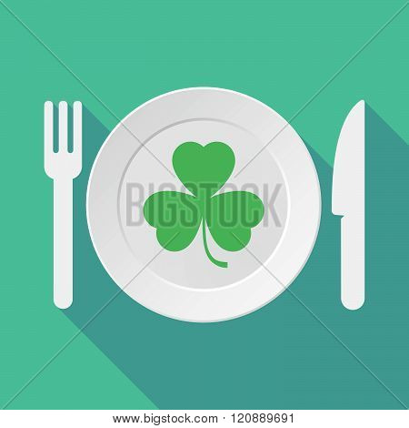 Long Shadow Tableware Illustration With A Clover