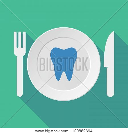Long Shadow Tableware Illustration With A Tooth