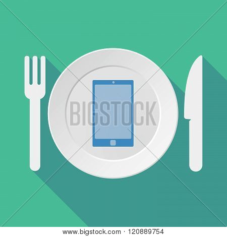Long Shadow Tableware Illustration With A Smart Phone