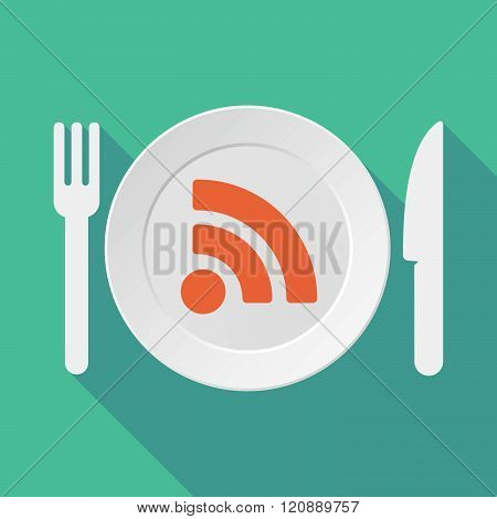 Long Shadow Tableware Illustration With An Rss Sign