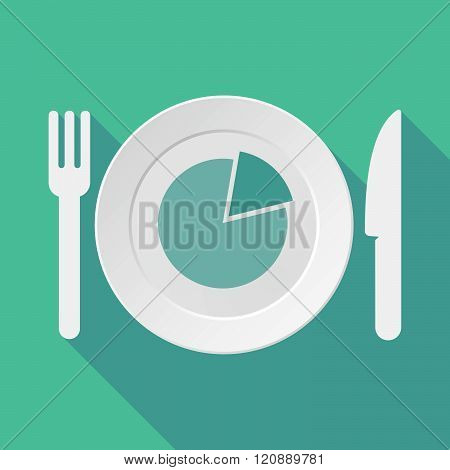 Long Shadow Tableware Illustration With A Pie Chart
