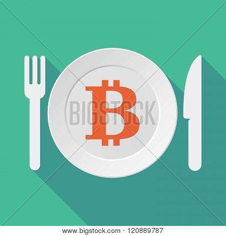 Long Shadow Tableware Illustration With A Bit Coin Sign