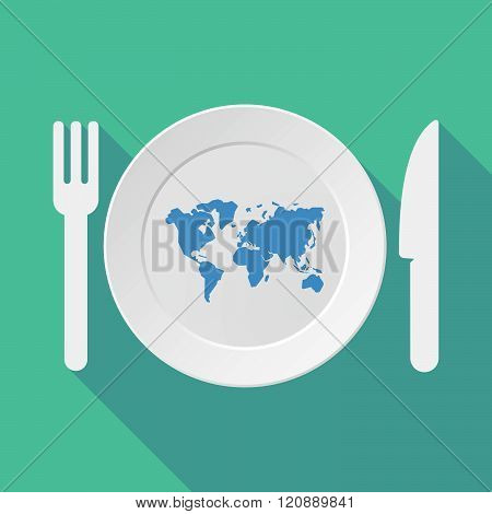 Long Shadow Tableware Illustration With A World Map