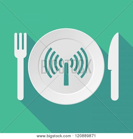 Long Shadow Tableware Illustration With An Antenna