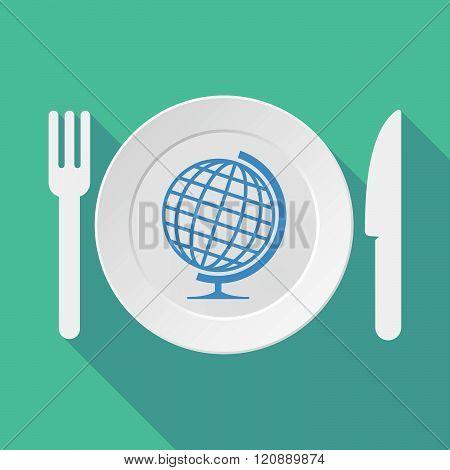 Long Shadow Tableware Illustration With  A Table World Globe