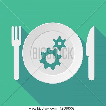Long Shadow Tableware Illustration With Two Gears