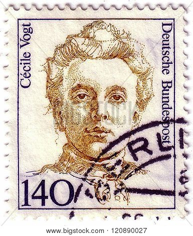 Germany - Circa 1989: A Stamp Printed In Germany Shows  Cecile Vogt (1875 –1962), Neurologist, In Th