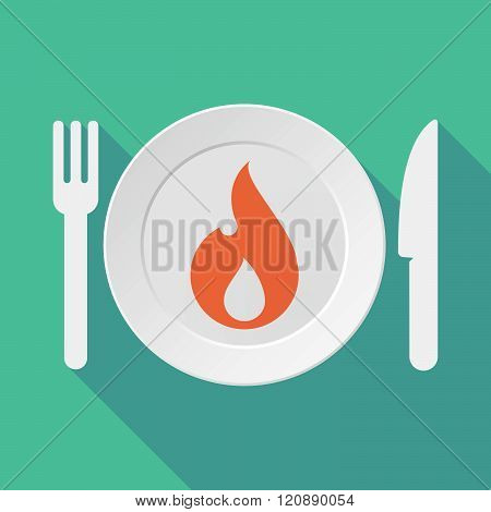 Long Shadow Tableware Illustration With A Flame