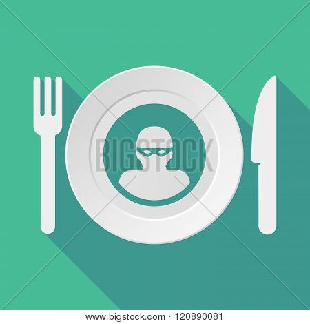 Long Shadow Tableware Illustration With A Thief