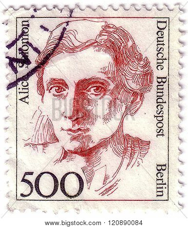 Federal Republic Of Germany - Circa 1989: A Stamp Printed In Germany Shows Alice Salomon Circa 1989.