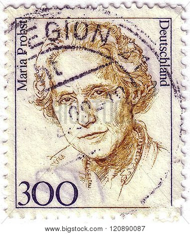 Germany - Circa 1987: Stamp Printed In Germany Shows Portrait Of Maria Probst, Politician, Circa 198