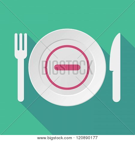 Long Shadow Tableware Illustration With A Subtraction Sign