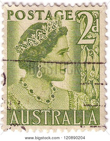 Australia - Circa 1951: A Stamp Printed In The Australia Shows Queen Elizabeth, Queen Of England, Ci