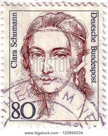 Germany - Circa 1986: A Postage Stamp Of Germany Shows Portrait Of Clara Schumann (1819 - 1896, Pian