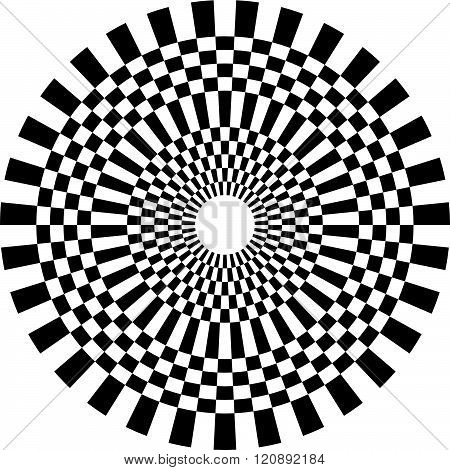 Abstract Geometric Monochrome Checkered Circle Design Element