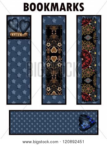 Bookmark Design With Denim Jeans Stars And Ornament Design