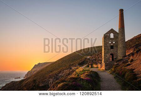 Ruins of a tin mine, Wheal Coates Mine, St. Agnes, Cornwall, England