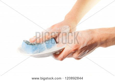 Man's Hands Washing Dishes. On A White Background