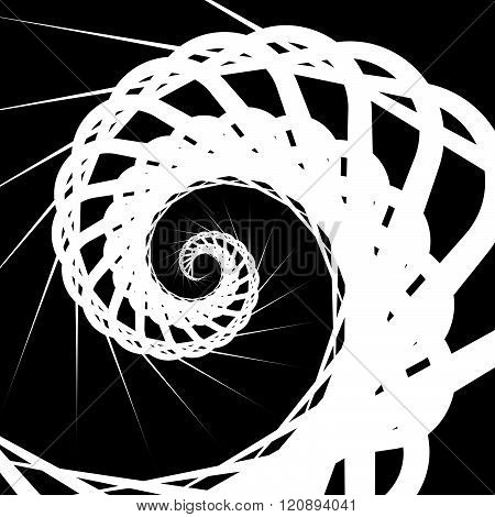 Abstract Volute, Spiral Background. Rotating, Concentric Shapes.