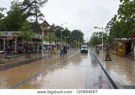 The Streets Of Palanga City In Lithuania