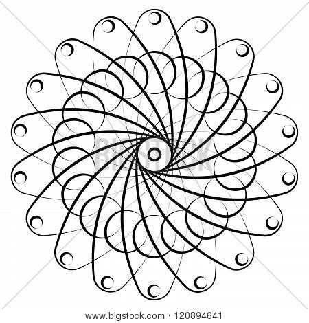 Abstract Circular, Spiral Element Isolated. Monochrome Graphic.