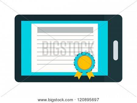 Online education certificate vector illustration. Online education certificate isolated on white background. Online education certificate vector icon illustration. Online education certificate